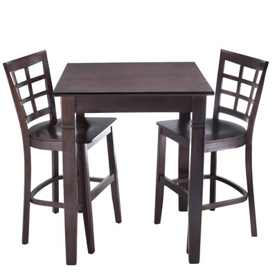 Lattice 3 Piece Pub Table Set Finish: Walnut