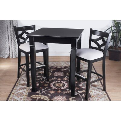 Fralick 3 Piece Pub Table Set Color: Black