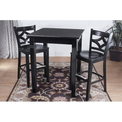 Rego 3 Piece Pub Table Set Finish: Black