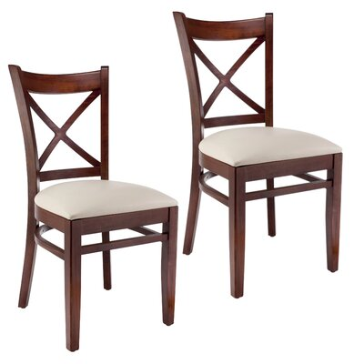 Side Chair Set of 2 Finish Medium Oak