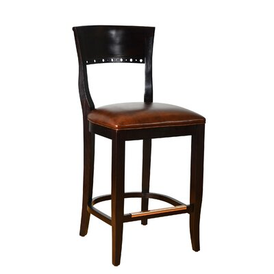 Biedermier 24 inch Bar Stool Finish: Wenge, Upholstery: Dark Brown Faux Leather
