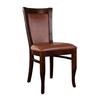 Greek Genuine Leather Upholstered Dining Chair (Set of 2) Frame Finish: Walnut, Upholstery: Brown