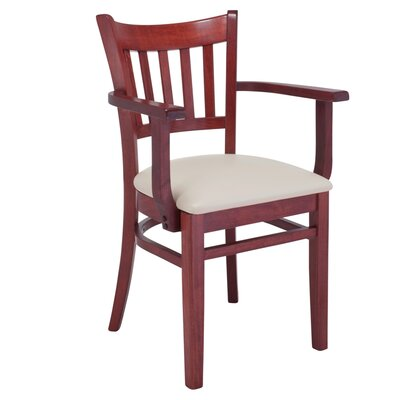 Jeske Slatback Arm Chair Frame Color: Mahogany, Seat Color: Cream