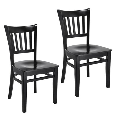 Slatback Solid Wood Dining Chair Finish: Black
