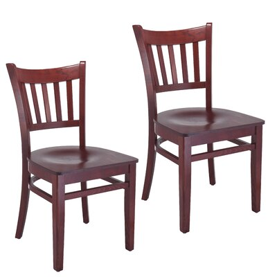 Slatback Solid Wood Dining Chair Finish: Mahogany