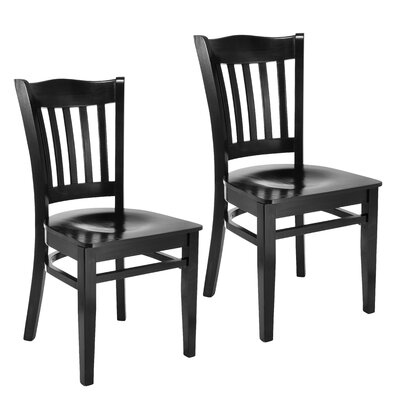 Darlington Slat Back Solid Wood Dining Chair (Set of 2) Finish: Black