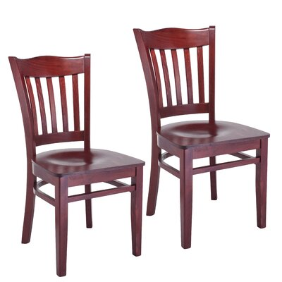 Darlington Slat Back Solid Wood Dining Chair (Set of 2) Finish: Mahogany