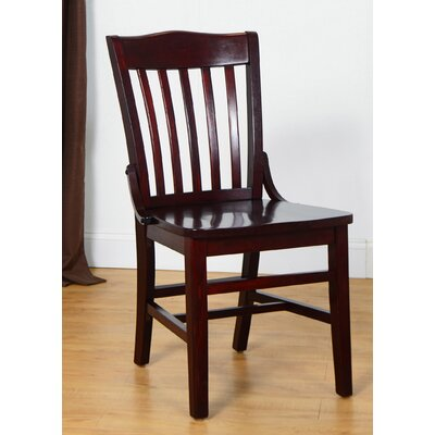 Schoolhouse Solid Wood Dining Chair (Set of 2) Finish: Dark Mahogany