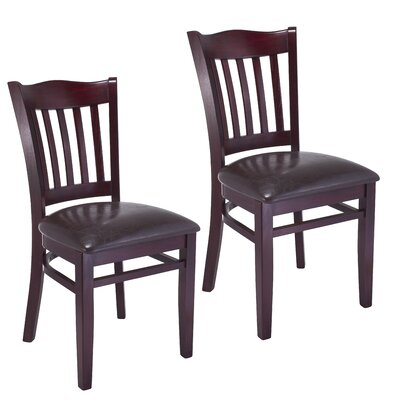 Darlington Side Chair Upholstery Color: Black, Frame Color: Dark Mahogany