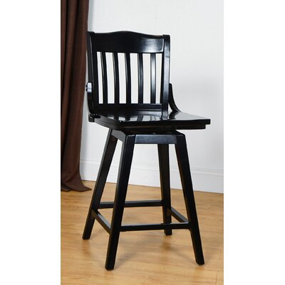 Orlando Wood 24 Swivel Bar Stool Color: Black
