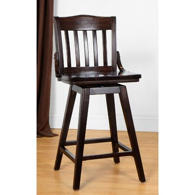 Orlando Wood 24 Swivel Bar Stool Color: Walnut