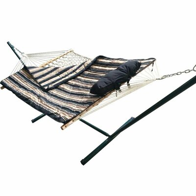 Cotton Hammock with Stand Color: Black/White Stripe
