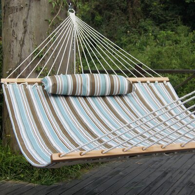 Cotton Tree Hammock Color: Tan/Light Blue Stripes