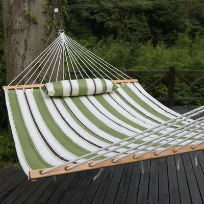 Cotton Tree Hammock Color: Olive/White Stripes