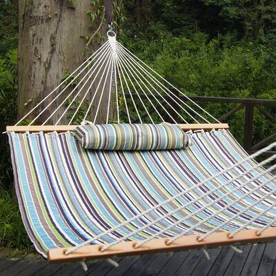 Cotton Tree Hammock Color: Warm Blue/Green Stripes