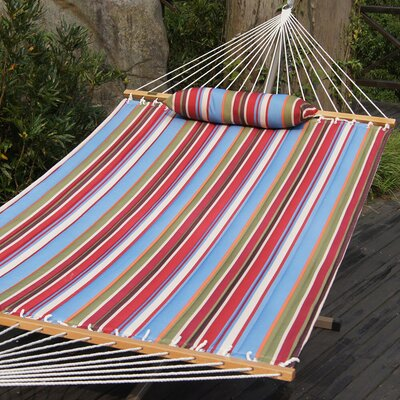 Cotton Tree Hammock Color: Red/Sky Blue Stripes