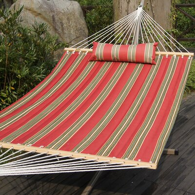 Cotton Tree Hammock Color: Red/Army Green Stripes