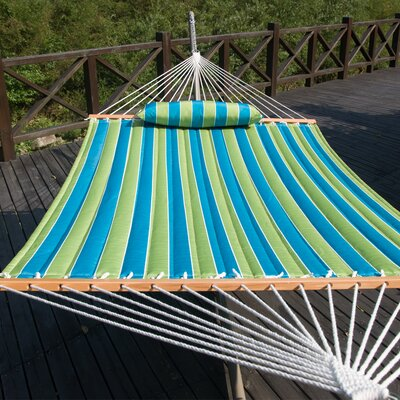 Cotton Tree Hammock Color: Teal Stripe
