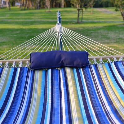 Cotton Hammock with Stand Color: Blue/Yellow Stripe