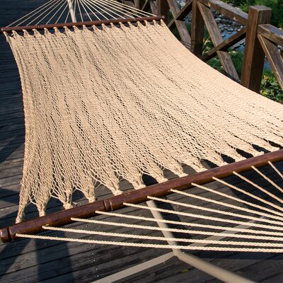 Two Point Tight Weave Caribbean Polyester Hammock Color: Tan