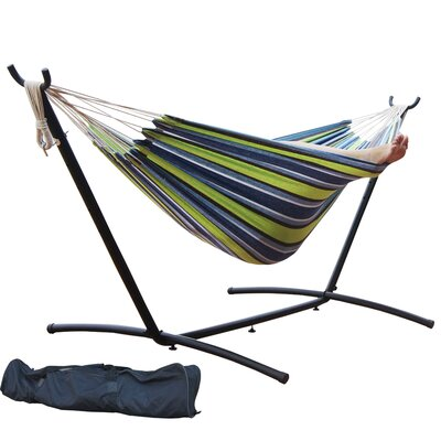 Double Cotton Hammock with Stand Color: Elegant Oasis Stripe