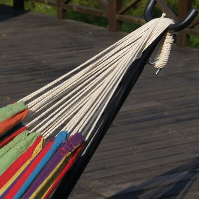 Double Cotton Hammock with Stand Color: Elegant Rainbow Stripe