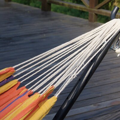 Double Cotton Hammock with Stand Color: Elegant Orange Stripe