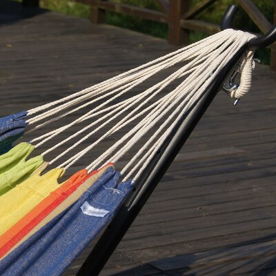 Double Cotton Hammock with Stand Color: Elegant Tropical Stripe