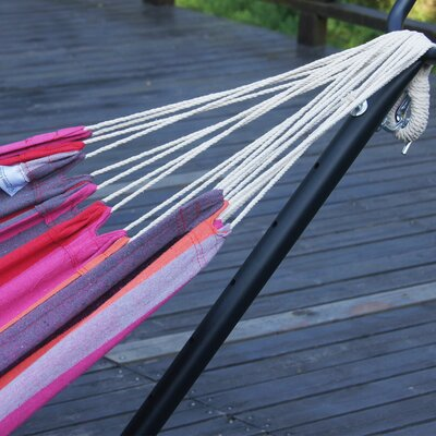 Double Cotton Hammock with Stand Color: Cherry Stripe