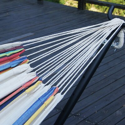 Double Cotton Hammock with Stand Color: Tan Stripe