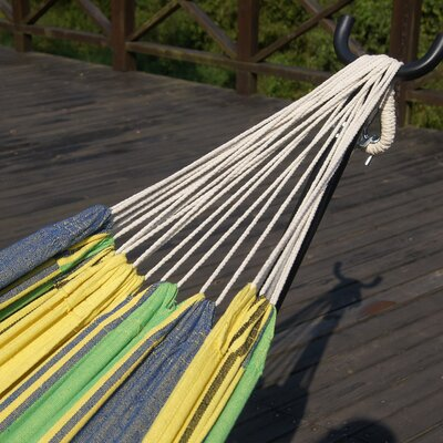 Double Cotton Hammock with Stand Color: Elegant Meadow Stripe