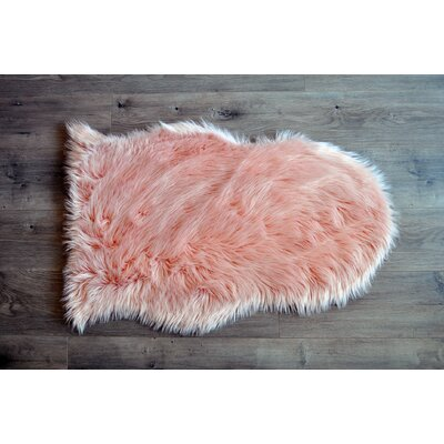 Faux Sheepskin Blush Area Rug Rug Size: 2 x 3