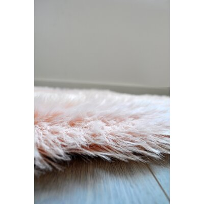 Faux Fur Blush Area Rug