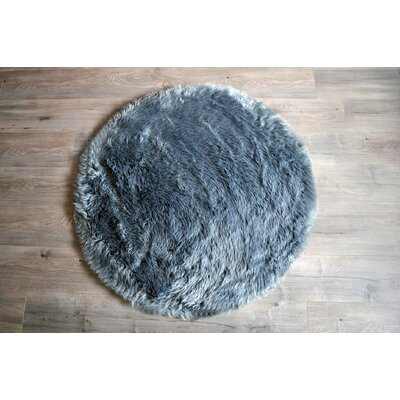 Faux Fur Gray Area Rug