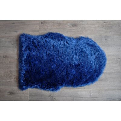 Faux Sheepskin Blue Area Rug