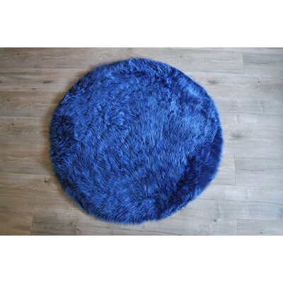 Faux Fur Blue Area Rug