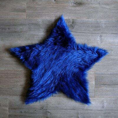 Star Faux Sheepskin Blue Area Rug Rug Size: 3 x 3