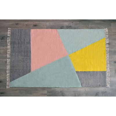 Dulaney Hand Woven Cotton Gray/Yellow Area Rug