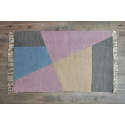 Dulaney Mauve Hand Woven Cotton Gray/Pink Area Rug