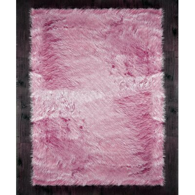 Faux Sheepskin Pink Area Rug