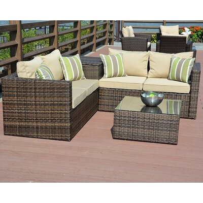 Zoe 4 Piece Sofa Seating Group with Cushion