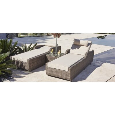 Alisa 3 Piece Chaise Lounge with Cushion Color: Mixed Grey
