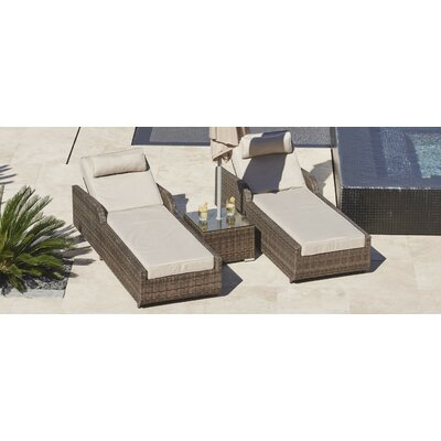 Reclining Chaise Lounge Set Cushions Table Frame 2188