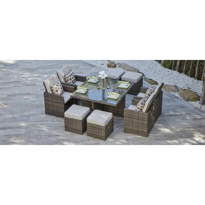 Callie 9 Piece Dining Set with Cushions