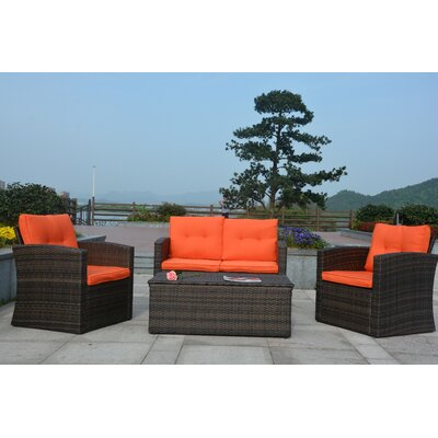 Dursley 4 Piece Seating Group with Cushion Fabric: Orange