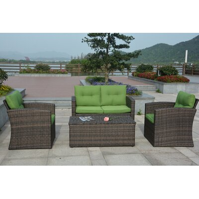 Dursley 4 Piece Seating Group with Cushion Fabric: Green