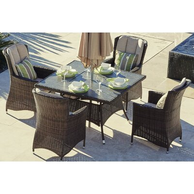 McCabe 5 Piece Dining Set with Firepit and Cushion