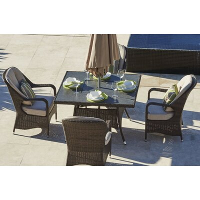 Marlborough 5 Piece Dining Set with Firepit and Cushions