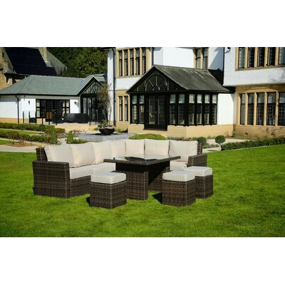 Attaway Rio Deluxe 8 Piece Deep Seating Group with Cushion Color: Mixed Brown