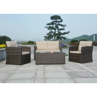 Dursley 4 Piece Seating Group with Cushions Fabric: Beige